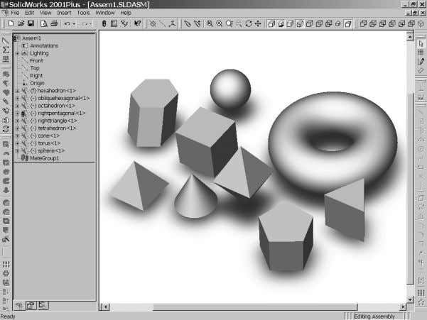Figure 4-7.1 Examples of Solids Created with CAD. Courtesy of SolidWorks Corporation. © 2003, Prentice-Hall,
