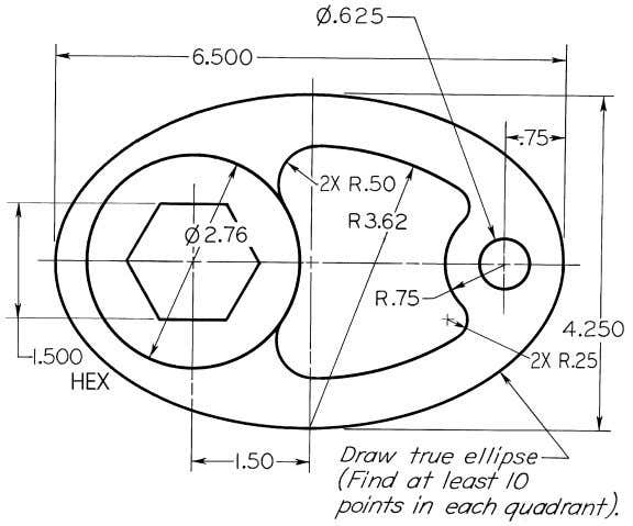 © 2003, Prentice-Hall, Inc. Giesecke Technical Drawing, 12e Figure 4-72 (Prob. 4.55) Special Cam.