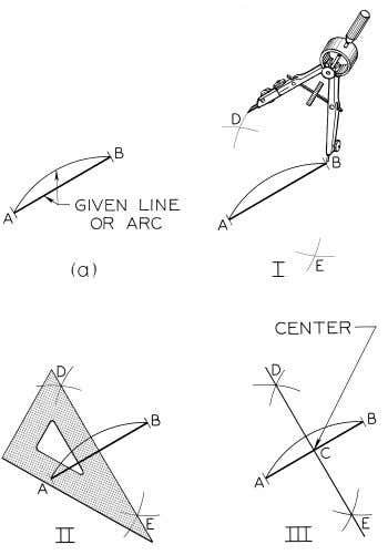 © 2003, Prentice-Hall, Inc. Giesecke Technical Drawing, 12e Figure 4-8 Bisecting a Line or a Circular