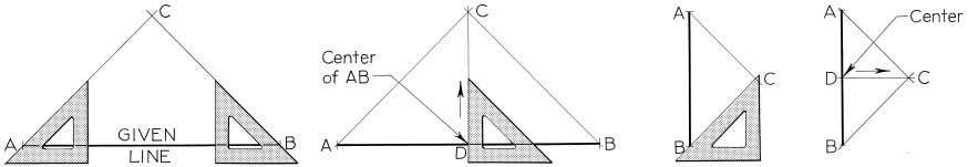 Figure 4-9 Bisecting a Line with Triangle and T-square (§4.9). © 2003, Prentice-Hall, Inc. Giesecke