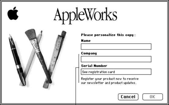 2-2 AppleWorks 5 User's Manual Press Tab to go to the next line (Company is optional)