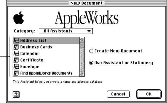 opening, and printing documents 2-5 Select an Assistant You can use other Assistants to help you