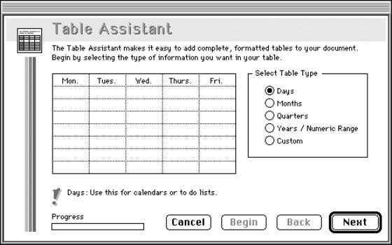 AppleWorks Assistants from the or Help menu. Select an Assistant, and then click OK . Assistant