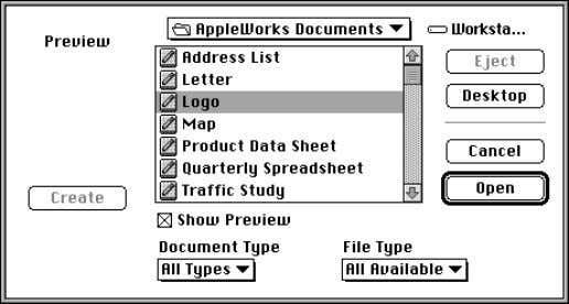 folder or disk to see documents and folders in that location Choose the type of document