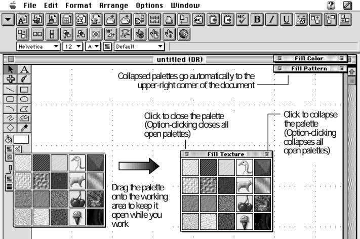 Collapsed palettes go automatically to the upper-right corner of the document Click to close the