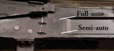 semi-auto (single shot) firing mode symbol and some remarks. Figure 21: Bulgarian selector marks. (Photo: author)