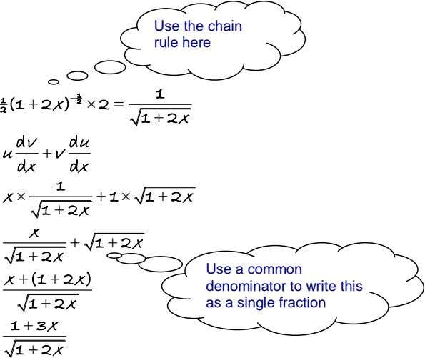 Use the chain rule here 1 2 1 (1  2 x )  2