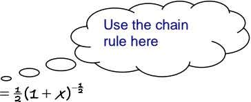 Use the chain rule here  1 (1  x )  1 2 2