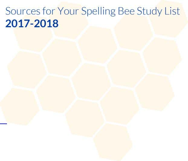 Sources for Your Spelling Bee Study List 2017-2018