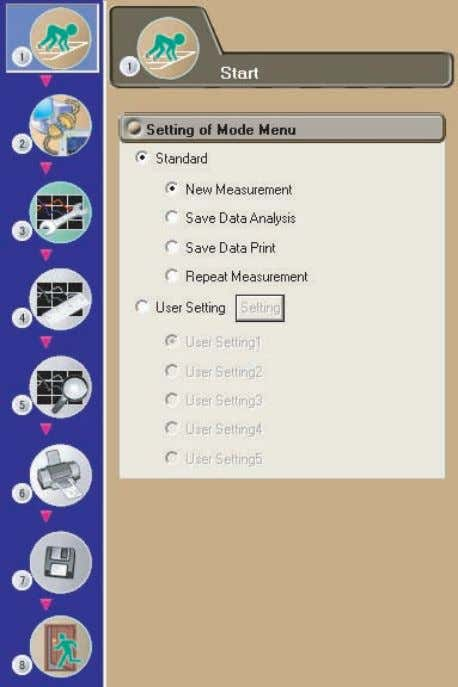 Select the icon in the menu area. The Start submenu appears. Standard (page 4-2) There are