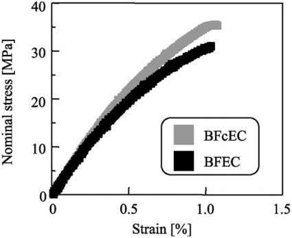 state of the BFcEC with drastically decreased number and size of voids. Fig. 12. Stress–strain curves