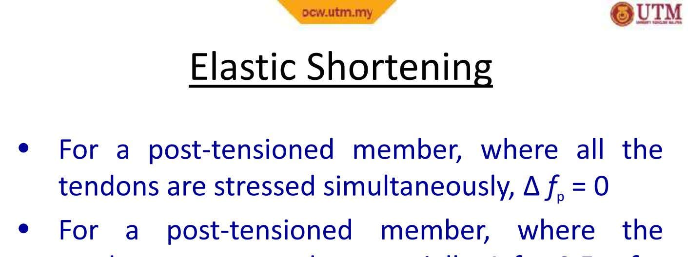 Elastic Shortening Elastic Shortening • For a post-tensioned member, where all the tendons are stressed