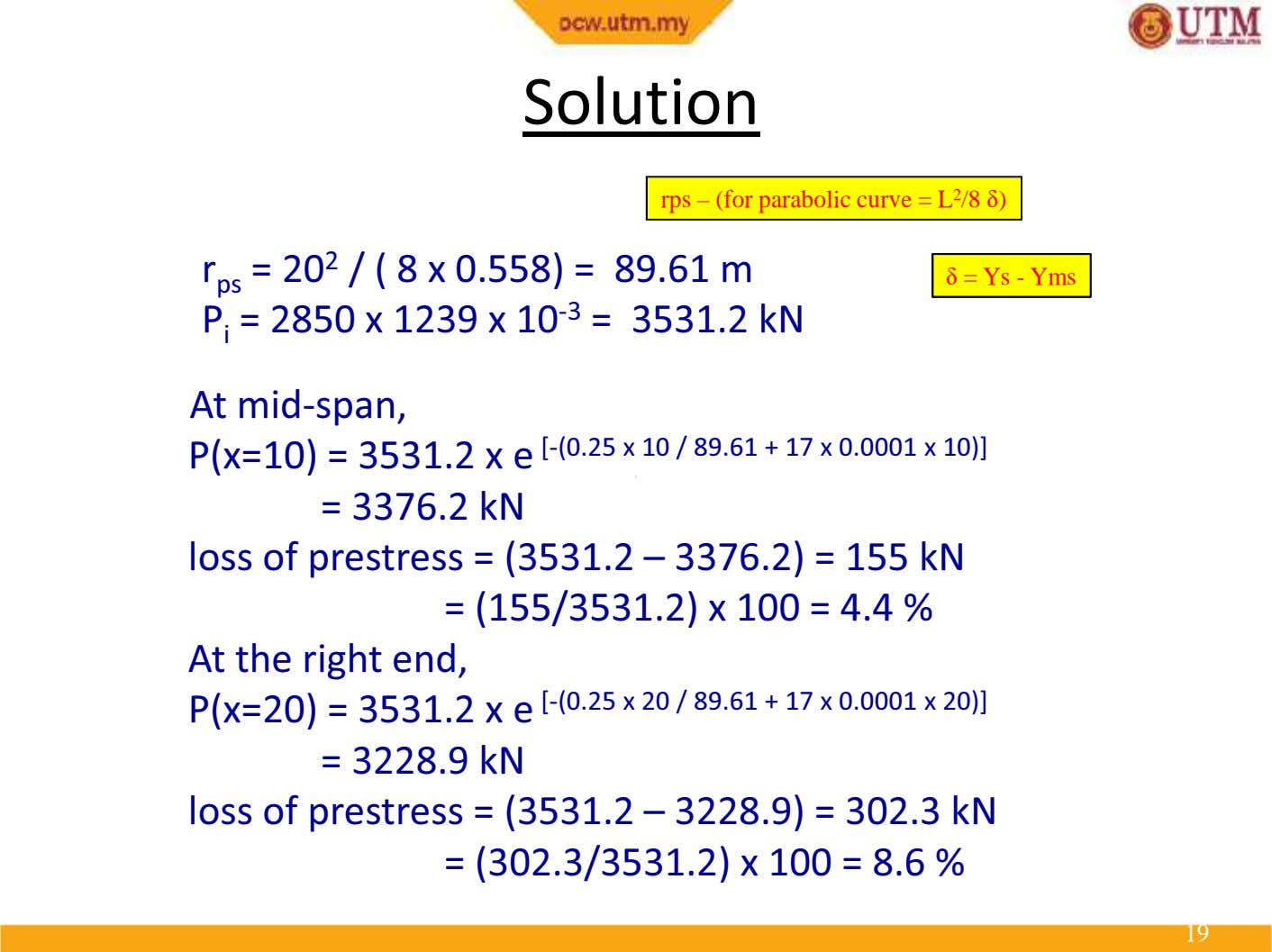 Solution rps – (for parabolic curve = L 2 /8 δ ) r ps =