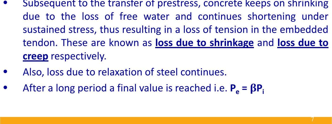 • Subsequent to the transfer of prestress, concrete keeps on shrinking due to the loss