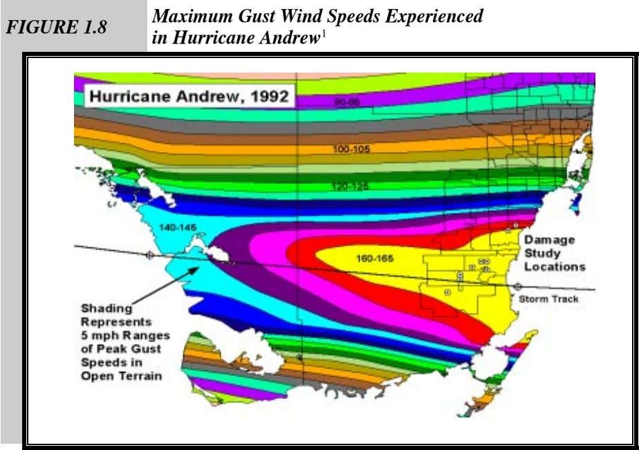 FIGURE 1.8 Maximum Gust Wind Speeds Experienced in Hurricane Andrew 1