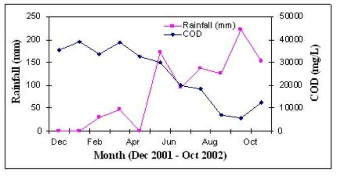 Figure 3.7 Variation in COD with rainfall in Thailand 3.3.2 Landfill age Sampling and analysis