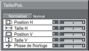 Taille/Pos. Normaliser Normal Position H 0 Taille H 0 Position V 0 Taille V 0