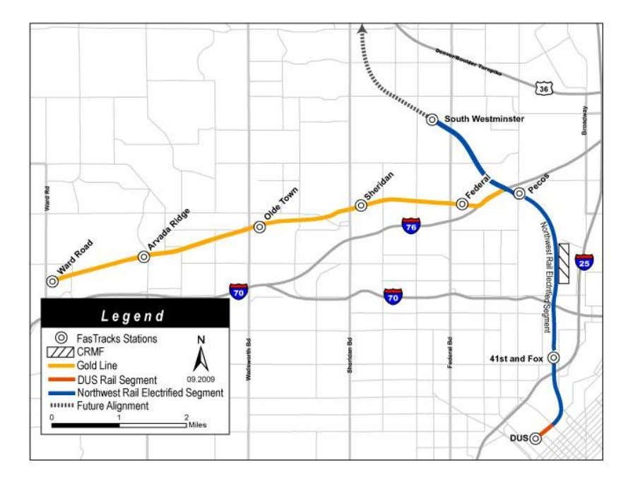 Eagle Project Figure 3.4: Gold Line Alignment Overview 3.4.1. Gold Line Overview The Gold Line diverges