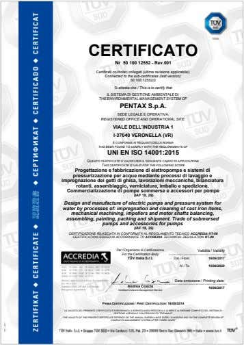 CERTIFICATO Nr 50 100 12552 - Rev.001 Certificati co-titolari collegati (ultima revisione applicabile): Connected to