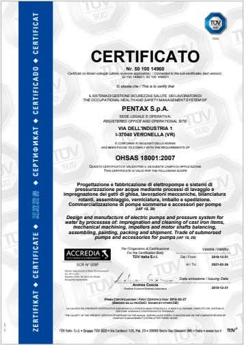 CERTIFICATO Nr. 50 100 14960 Certificati co-titolari collegati (ultima revisione applicabile): / Connected to the