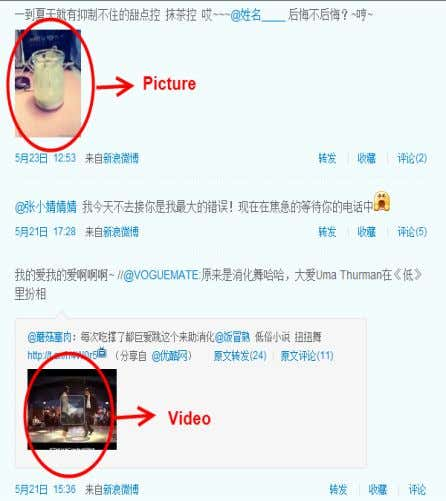 messages with embedded pictures and videos on Sina Weibo. Figure 3: An Example of Embedded Videos