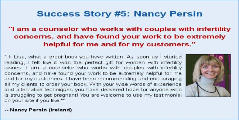 SUCCESS STORY FROM THIS EBOOK