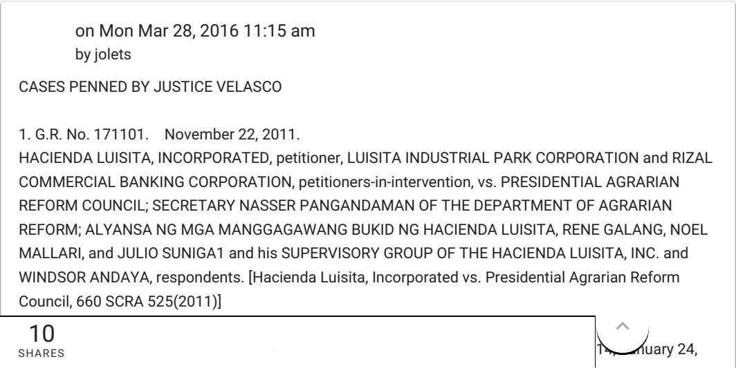 on Mon Mar 28, 2016 11:15 am by jolets CASES PENNED BY JUSTICE VELASCO 1.