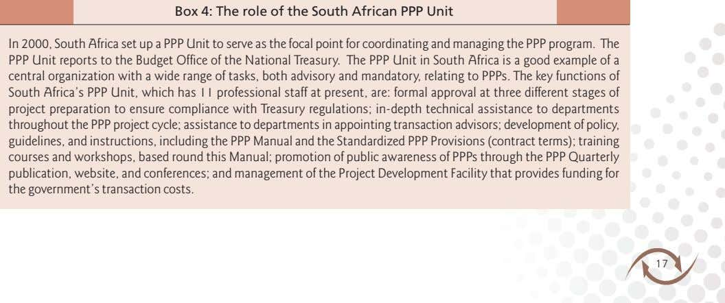 Box 4: The role of the South African PPP Unit In 2000, South Africa set