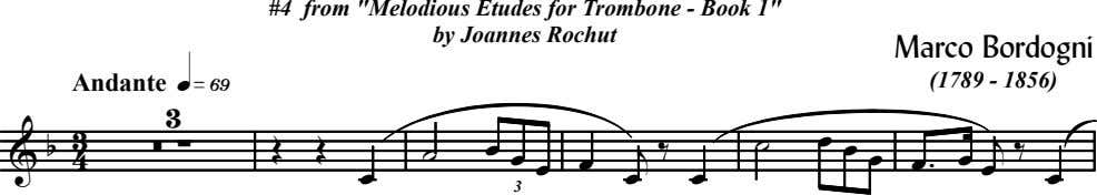 "#4 from ""Melodious Etudes for Trombone - Book 1"" by Joannes Rochut Marco Bordogni Andante"