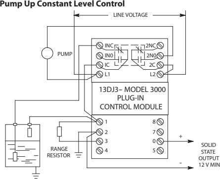 Pump Up Constant Level Control LINE VOLTAGE INC 2NC PUMP IN0 2N0 IC 2C L1