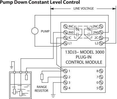 Pump Down Constant Level Control LINE VOLTAGE INC 2NC PUMP IN0 2N0 IC 2C L1