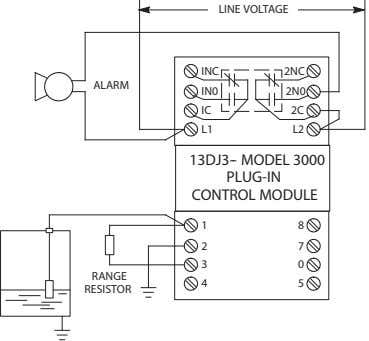 LINE VOLTAGE INC 2NC ALARM IN0 2N0 IC 2C L1 L2 13DJ3-- MODEL 3000 PLUG-IN