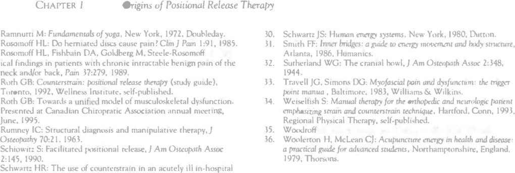 CHAPTER I Origins of Positional Release Theral'Y Ramnum M: Fundamtnwu of ;ioga, New York. 1972.