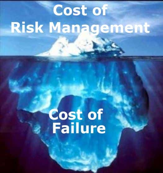 Cost of Risk Management Cost of Failure