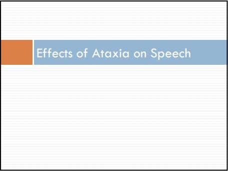Effects of Ataxia on Speech