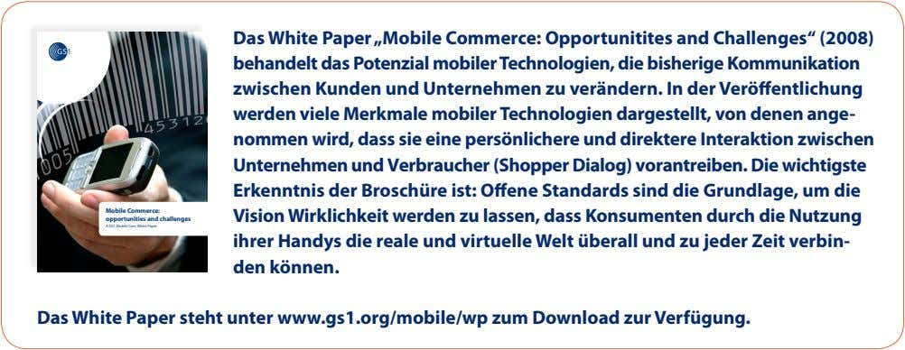 "Mobile Commerce: opportunities and challenges A GS1 Mobile Com White Paper Das White Paper ""Mobile"