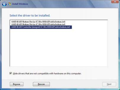 select AMD-RAID Controller and click Next to load the driver. Finally, continue the OS installation. Figure