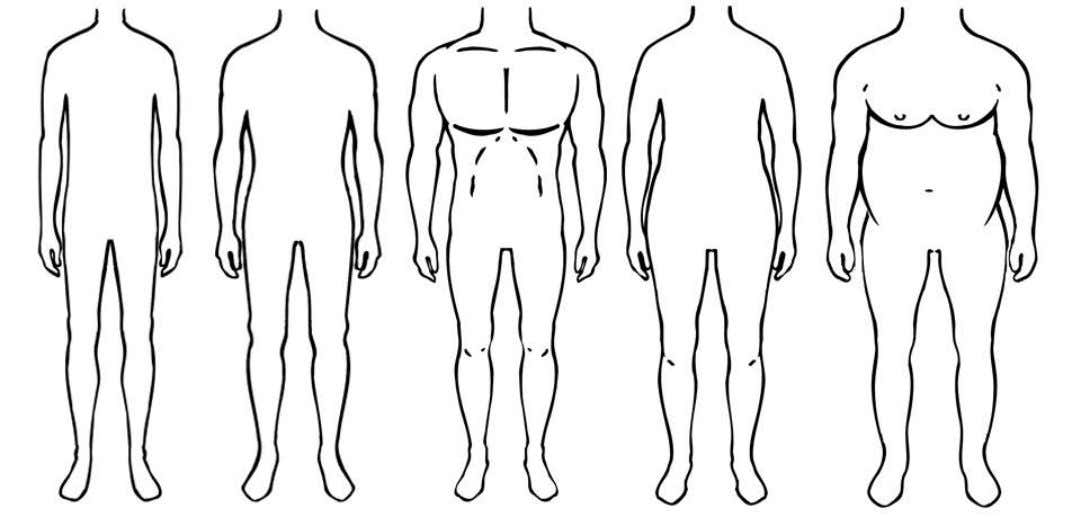 of all let's have a quick look at men's body shapes. From Right to Left: Slim