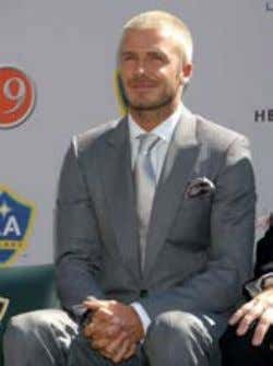did the press conference with LA Galaxy – see the difference between his UK image (top)
