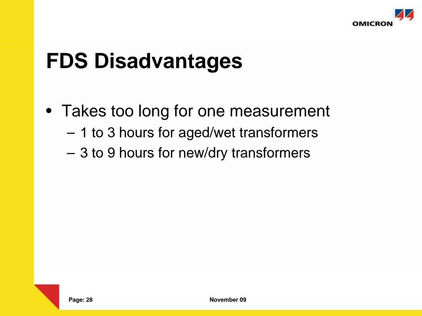 FDS Disadvantages • Takes too long for one measurement – 1 to 3 hours for