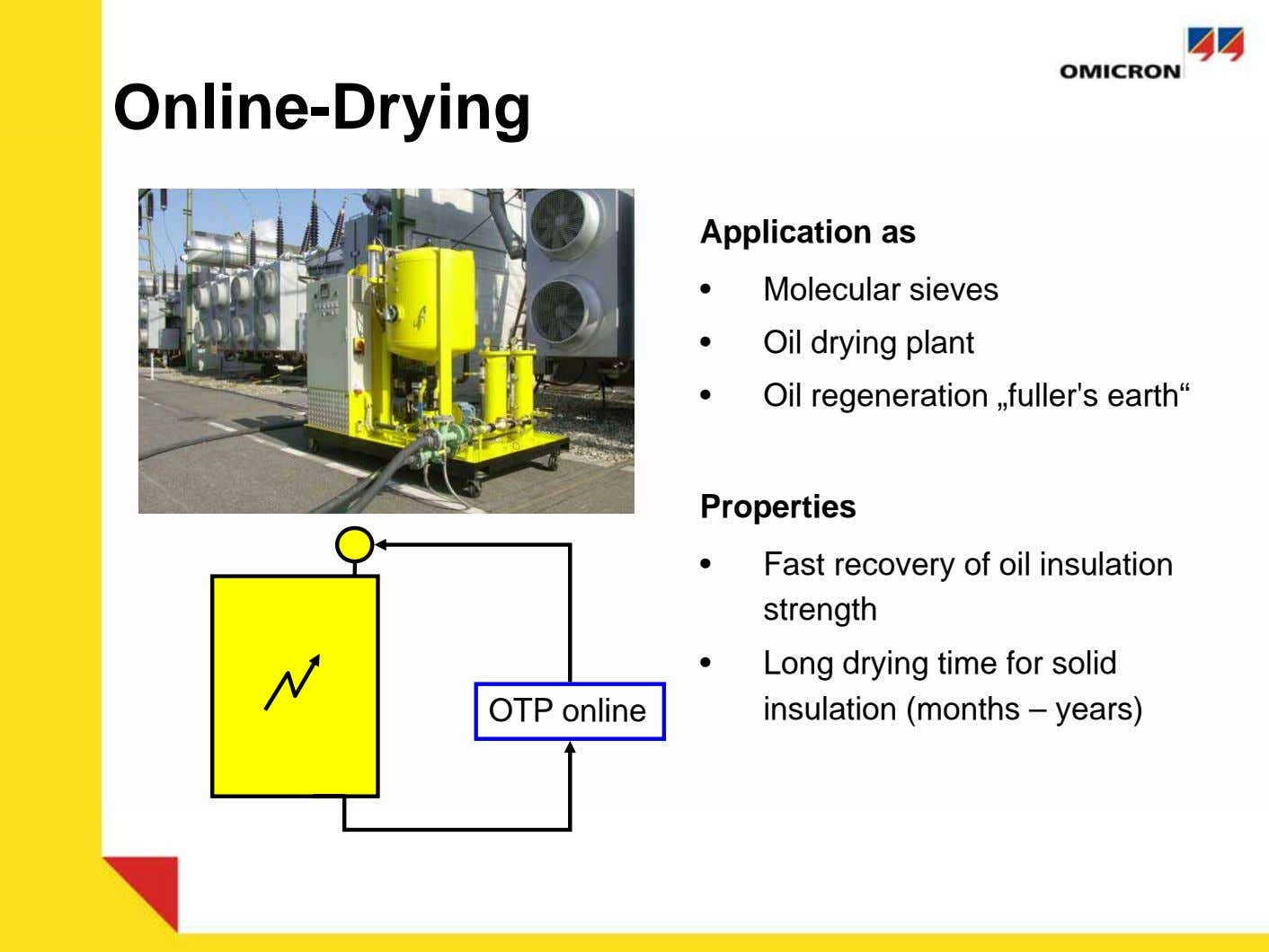 Online-Drying IV. Trocknung Application as • Molecular sieves • Oil drying plant • Oil regeneration