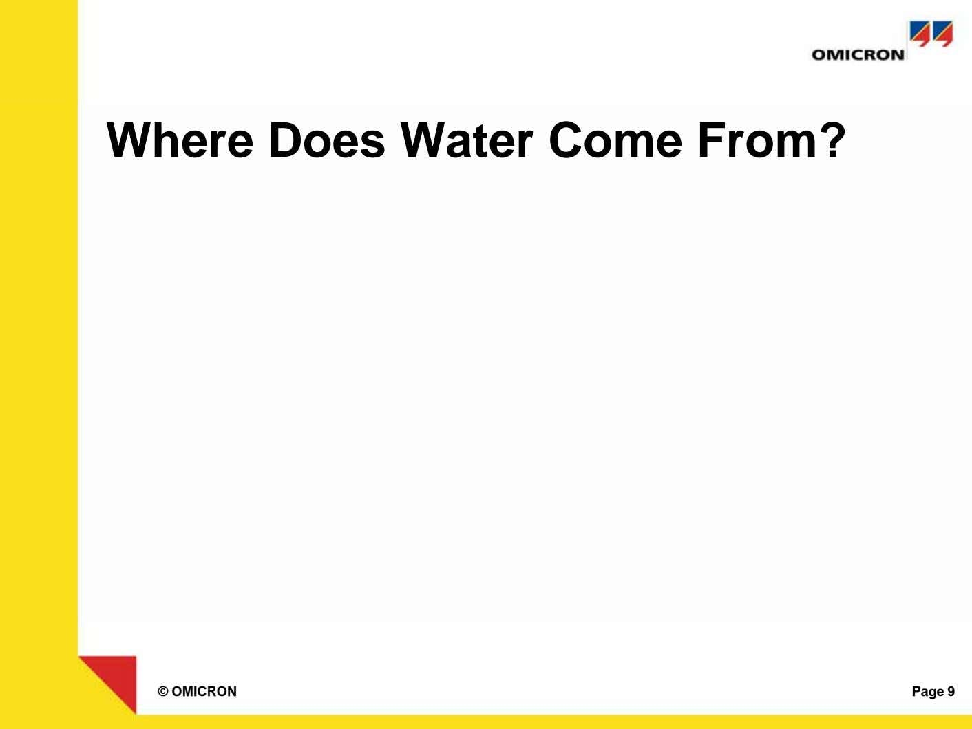 Where Does Water Come From? © OMICRON Page 9