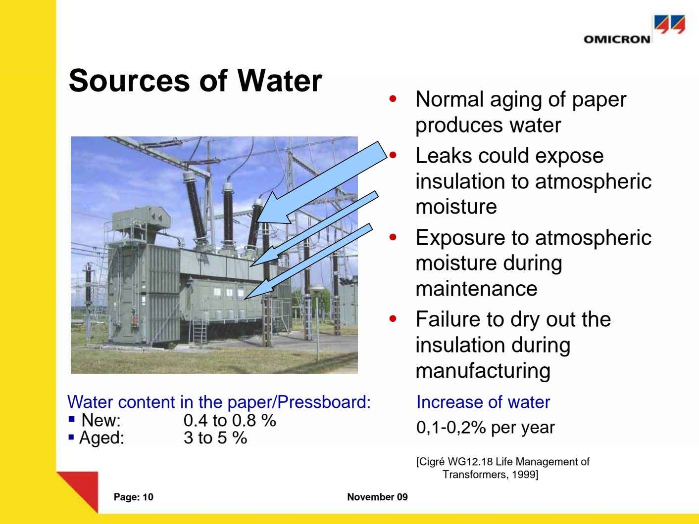 I. Grundlagen: Feuchtigkeit in Öl-Papier Sources of Water • Normal aging of paper produces water