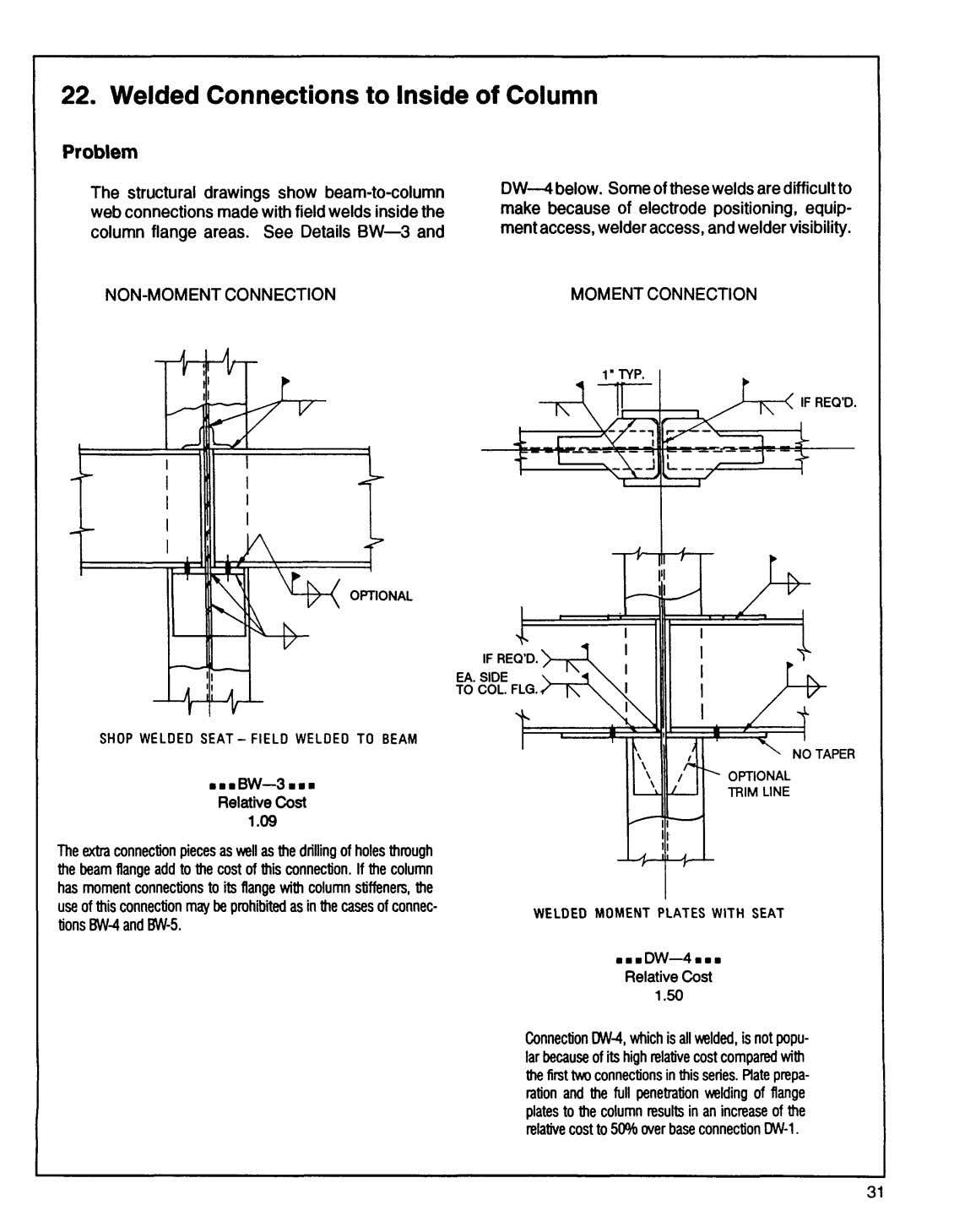 22. Welded Connections to Inside of Column Pr obl em The structural drawings show beam-to-column