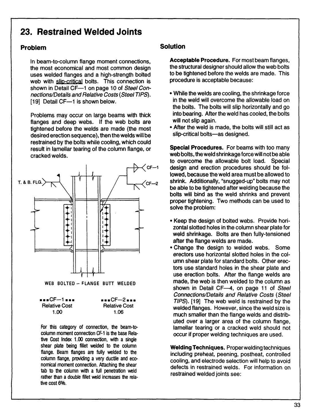 23. Restrained Welded Joints Solution Problem Acceptable Procedure. For most beam flanges, In beam-to-column flange