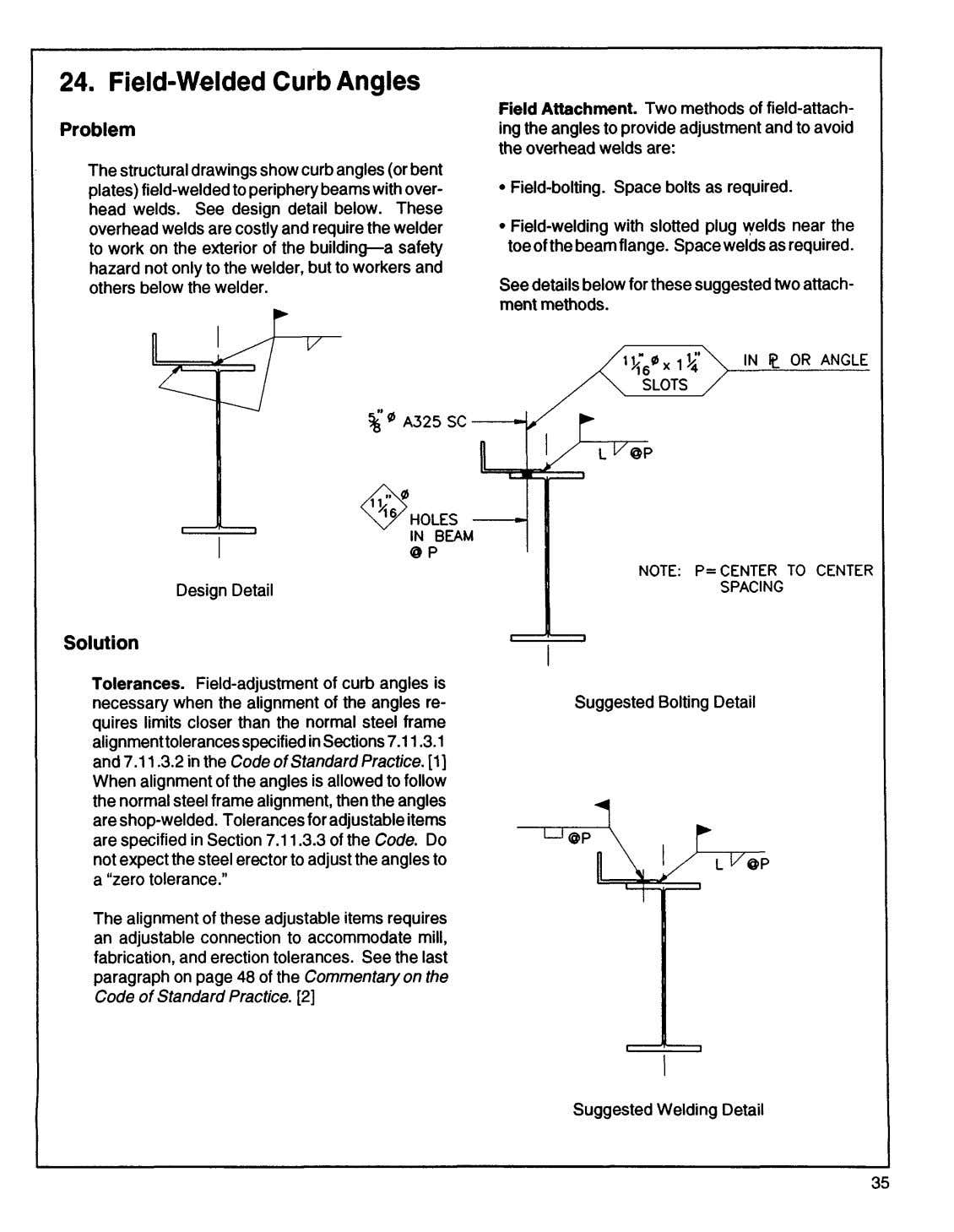 24. Field-Welded Curb Angles P r o b l e m Field Attachment. Two methods