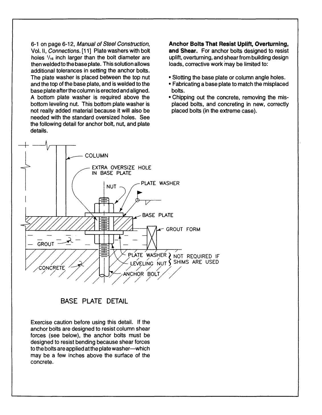 6-1 on page 6-12, Manual of Steel Construction, Anchor Bolts That Resist Uplift, Overturning, VoL