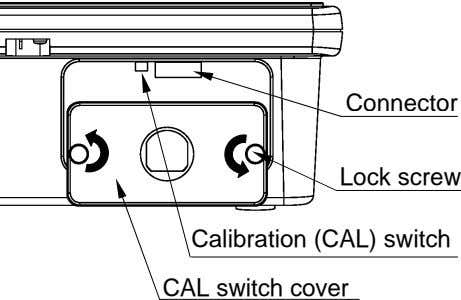 Connector Lock screw Calibration (CAL) switch CAL switch cover