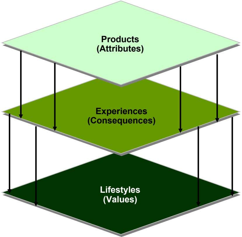Products (Attributes) Experiences (Consequences) Lifestyles (Values)