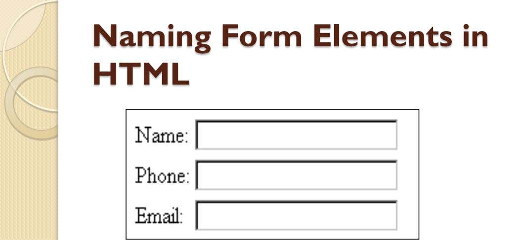 Naming Form Elements in HTML